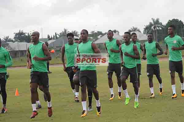 PICTURES: Moses, Balogun, Mikel, Ighalo, 21 Other Eagles Train Wednesday For Zambia