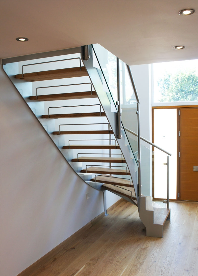 Bespoke Staircase Staines In A Quarter Turn Steel And Timber Design   Quarter Turn Staircase Design   Winder Staircase   Oak   Turning   Oval Shaped   Modern