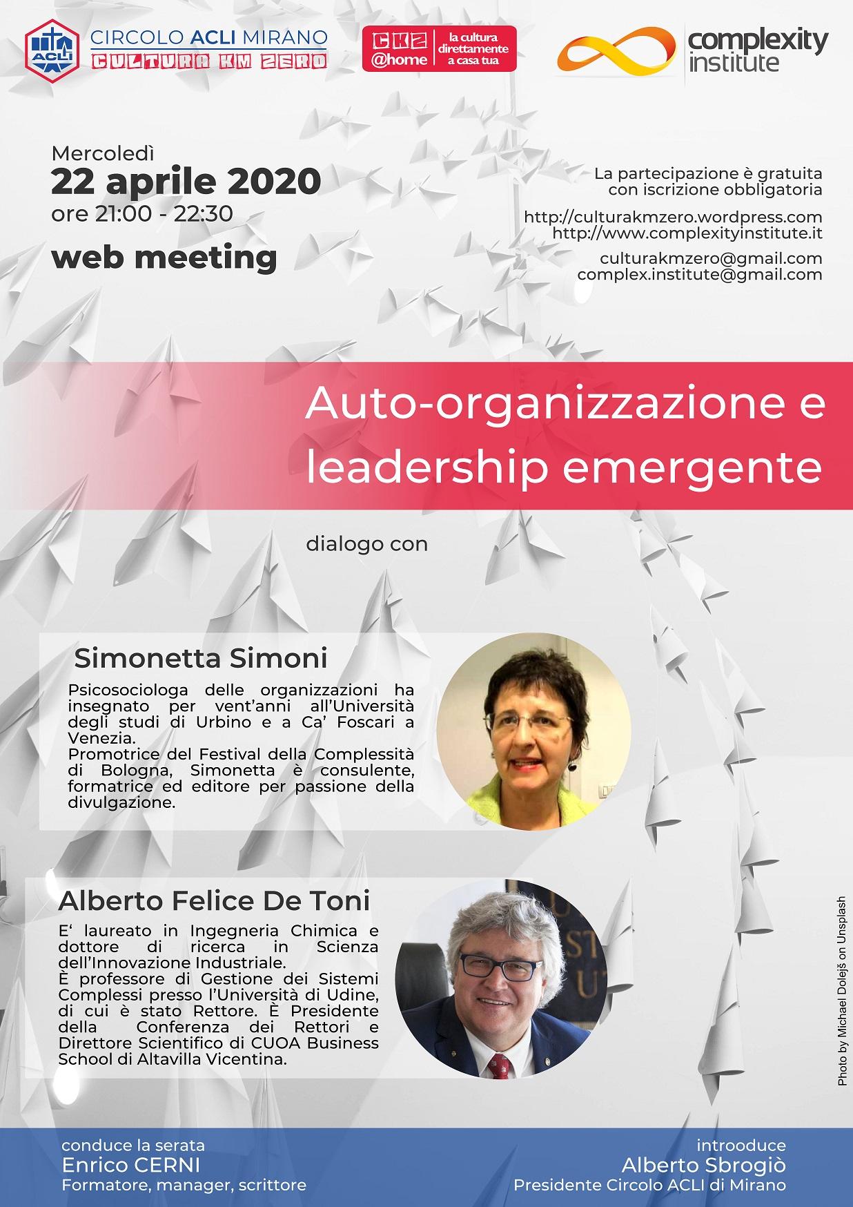 Locandina Auto-organizzazione e leadership emergente