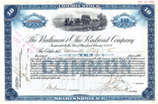 1903 stock certificate of the Baltimore and Ohio Railroad