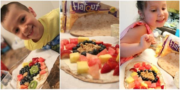 kids making healthy snacks- flatbread