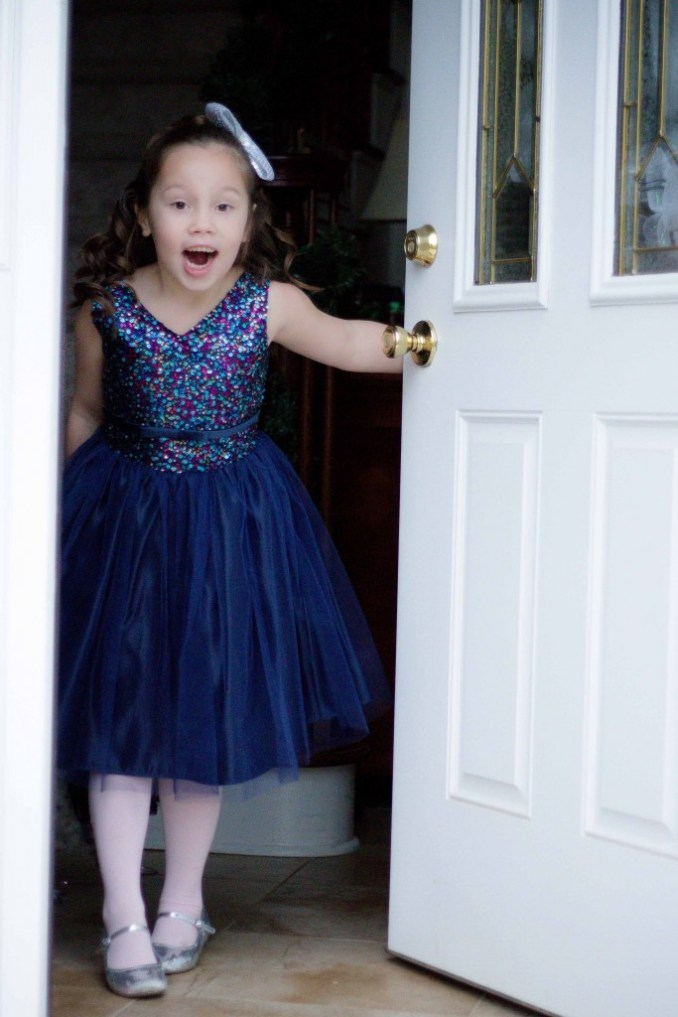 Pink Princess Navy Blue Tulle Party Dress Review-12
