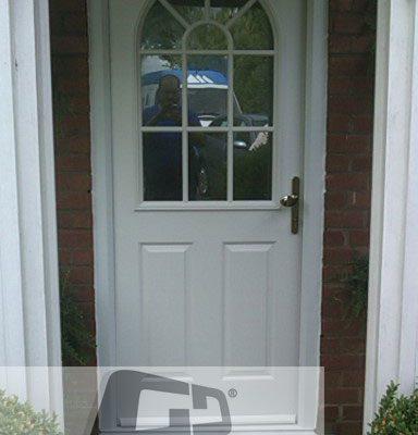 White 2 panel 1 sunburst Composite Door