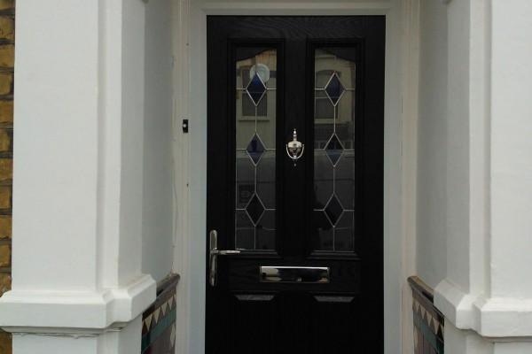 black 2 panel 2 arch Composite Door 3