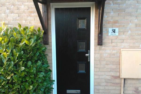 black 3 square composite door