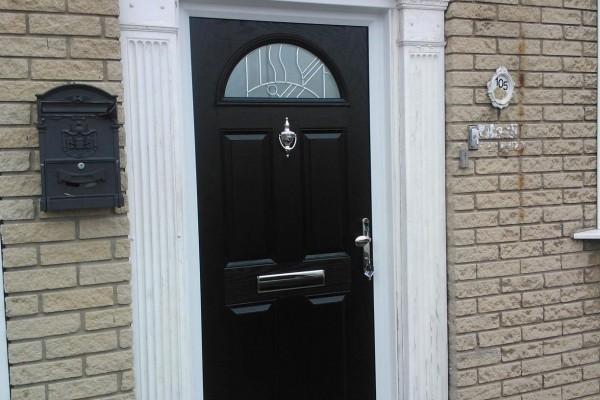 black 4 panel 1 arch Composite Door 5