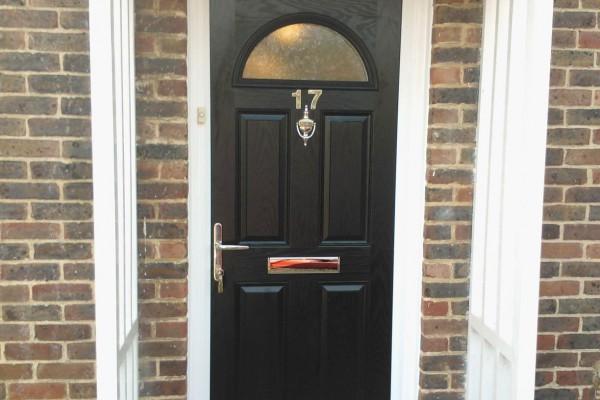 black 4 panel 1 arch Composite Door 7