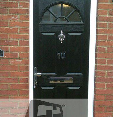 black 4 panel 1 arch Composite Door top box