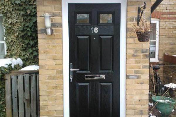 black 4 panel 2 square Composite Door