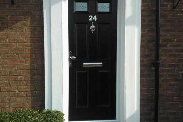 black 4 panel 2 square composite door 3