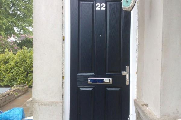 black 4 panel Composite Door top box