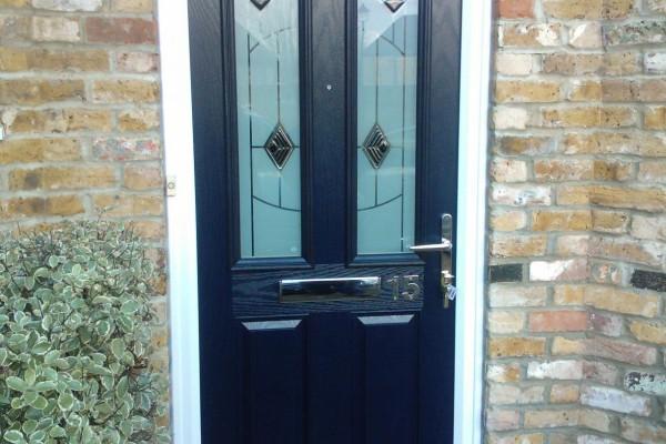 blue 2 panel 2 square Composite Door