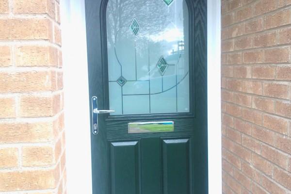 green 2 panel 1 arch Composite Door