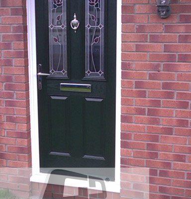 green 2 panel 2 square Composite Door