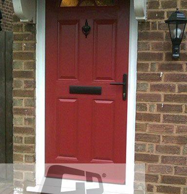 red 4 panel 1 sunburst Composite Door