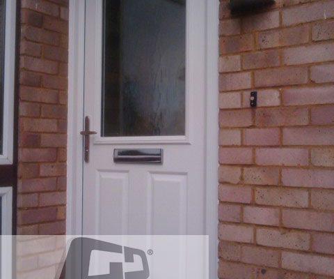 white 2 panel 1 square Composite Door