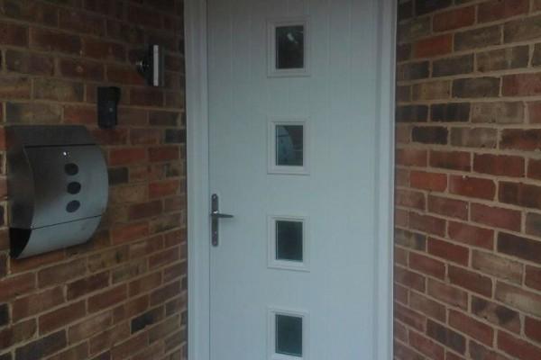 white 4 square Composite Door