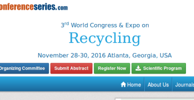 OMICS International Conferences: 3rd World Congress and Expo on Recycling, November 28-30, 2016, Atlanta, USA