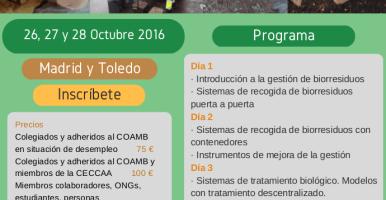 """Curso """"Recogida selectiva de la fracción orgánica de residuos urbanos y su tratamiento"""", 26-28 de octubre de 2016, Toledo-Madrid (España)"""