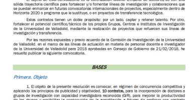 Convocatoria para incorporar investigadores posdoctorales a la Universidad de Valladolid (20 de diciembre de 2018)