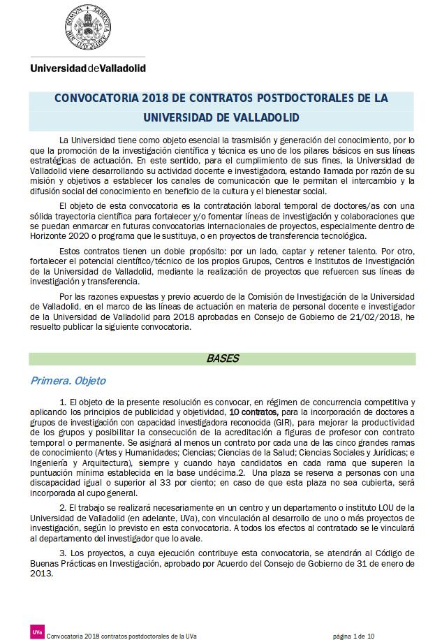 Posdoctoral en la Universidad de Valladolid