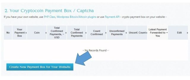 Create New Payment box for your website