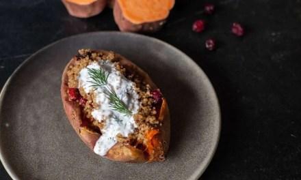Receta de Boniatos Asados con Quinoa y Kéfir de Leche