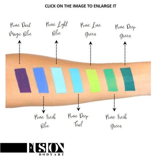 Fusion Body Art Prime Fresh Blue es realmente un color único que ninguna otra marca puede igualar. Con una mezcla de tonos azul perla y verde, este color es perfecto para diseños inspirados en pavos reales, Mardi Gras e incluso diseños de sirenas.  Las posibilidades son infinitas con Fusion Body Art Fresh Blue, ya que cambia de color según la forma en que la luz lo toque, este es un verdadero color de pintura facial de doble tono. Aplique en capas finas para evitar movimientos súper gruesos que podrían agrietarse cuando se secan. Los Fusion Body Art Face Paints son excelentes para los pintores y cosplayers profesionales, así como para los artistas principiantes y padres que necesitan un producto de pintura facial de alta calidad pero a precio accesible para una fiesta o simplemente por diversión. Face Paint - Prime Fresh Blue