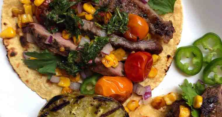 Grilled Flank Steak Tacos with Cilantro Chimichurri