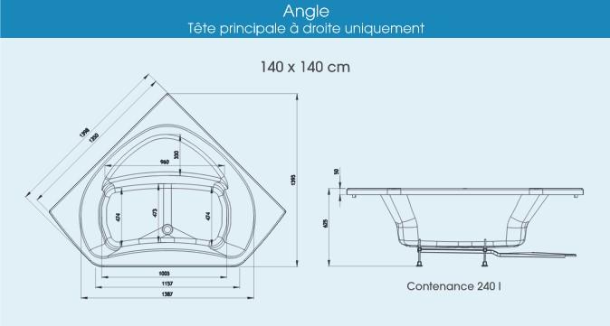 Baignoire Dangle 140x140 Systme Star Eau Avec Tablier Bi