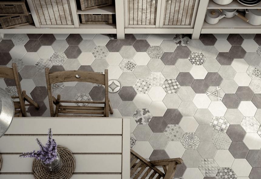 carrelage hexagonal ciment vieilli