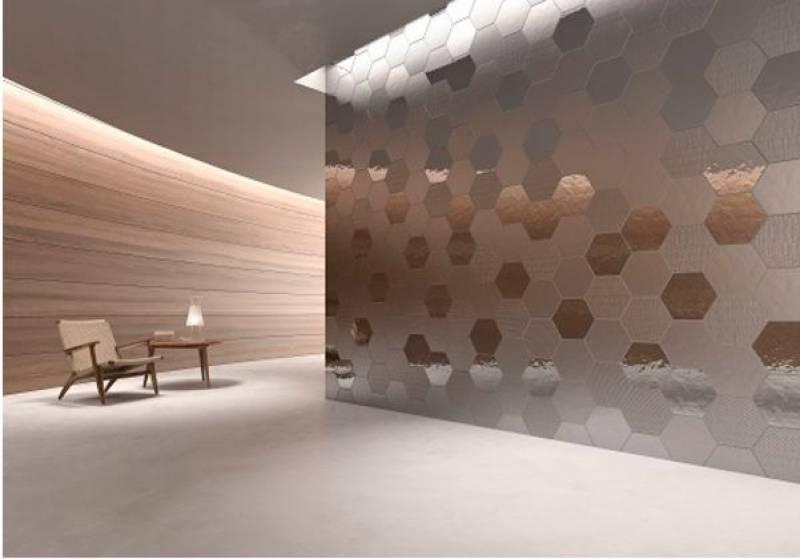 carrelage mural hexagonal effet metal