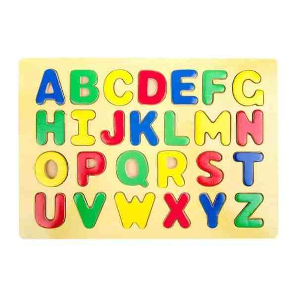 Puzzle alphabet rectangulaire en bois