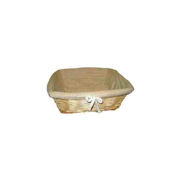 Corbeille à pain carré en osier doublée tissu