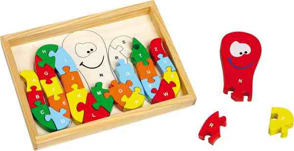 Puzzle en bois forme pieuvre, alphabet