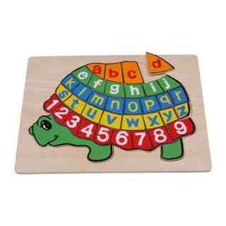 Puzzle alphabet en bois tortue
