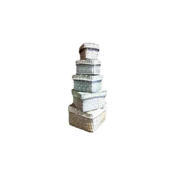 Mini coffret carré en jonc 8cm