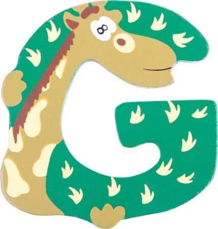 Lettre G en bois verte motif grand giraffe 7cm