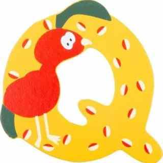 Lettre Q en bois jaune motif grand animal 7cm
