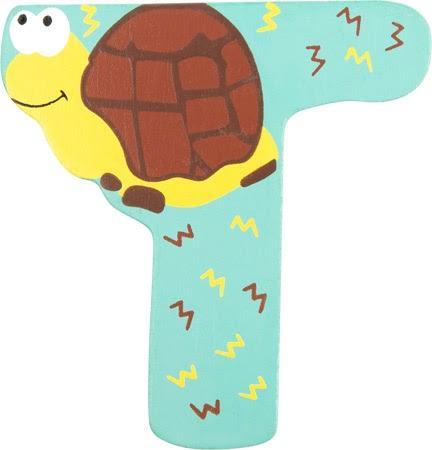 Lettre T en bois jaune motif grand tortue 7cm