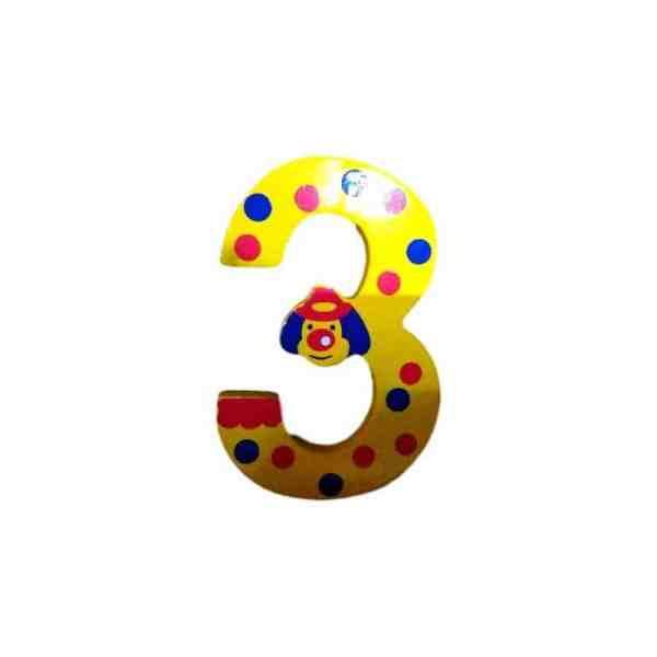 Chiffre 3 en bois jaune grand clown 7cm