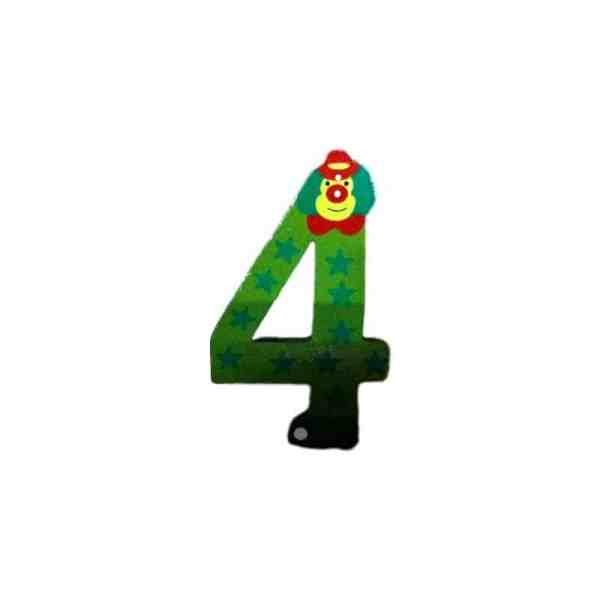 Chiffre 4 en bois verte grand clown 7cm