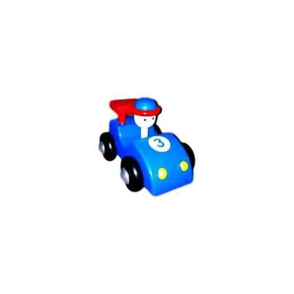 Voiture de course en bois, couleur bleue