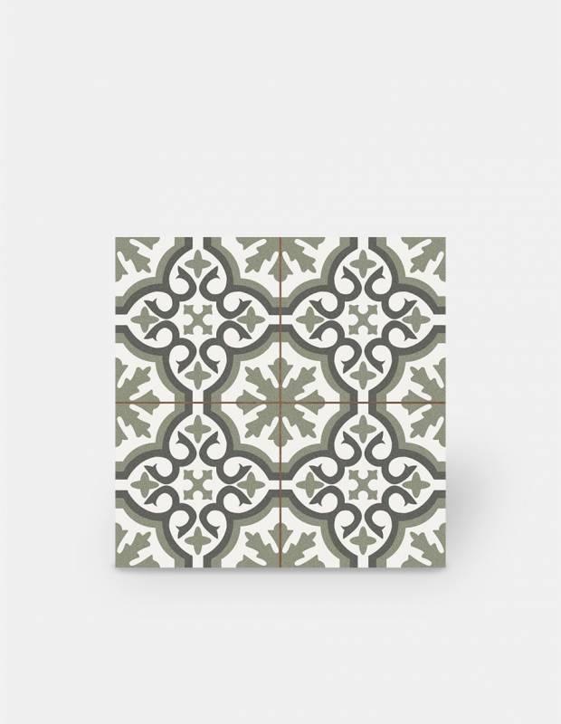 imitation carreaux de ciment en gres cerame decor vert st1140001