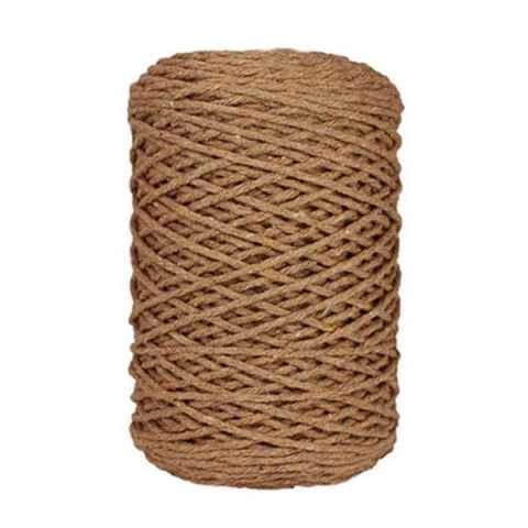 Coton bitord, barbante, fil de coton, 3 mm, marron