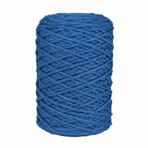 Coton bitord, barbante, fil de coton recyclé, 3 mm, bleu azur