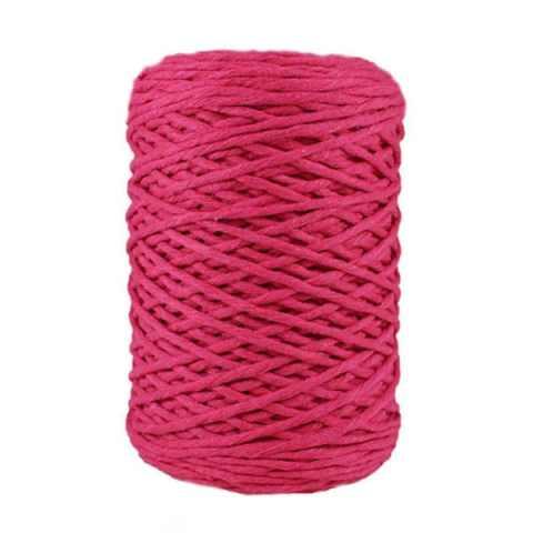 Coton bitord, barbante, fil de coton recyclé, 3 mm, rose fuchsia