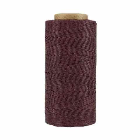 Fil de lin ciré - Marron violacé - Bobine 100% lin - Micro-macramé, bijoux, couture, reliure, maroquinerie