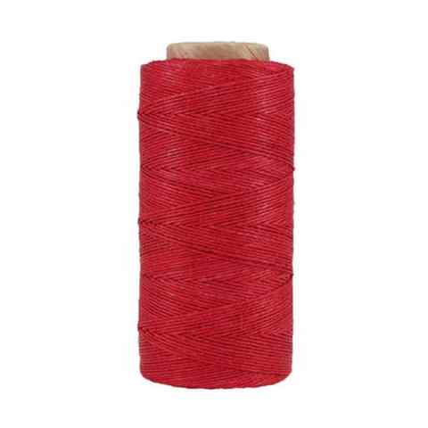 Fil de lin ciré - Rouge groseille - Bobine 100% lin - Micro-macramé, bijoux, couture, reliure, maroquinerie