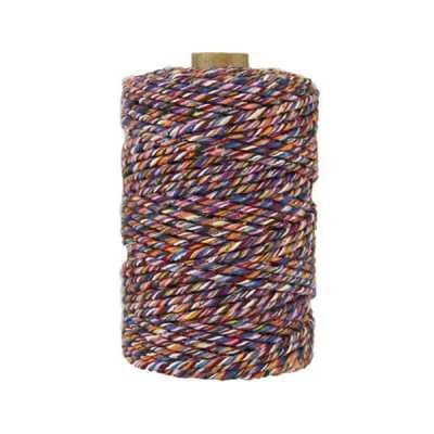 Ficelle Baker Twine - 2 mm - Bobine de ficelle Twine en coton recyclé - Multicolore